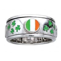 Irish Flag Shamrock Sterling Silver Fidget Spinner Ring