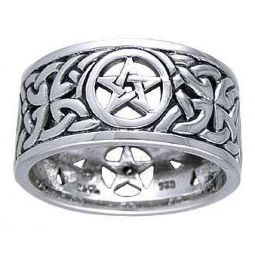 Pentacle Open Knotwork Sterling Silver Ring at Jewelry Gem Shop,  Sterling Silver Jewerly | Gemstone Jewelry | Unique Jewelry