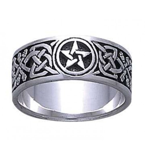 Celtic Knot Pentacle Band Ring at Jewelry Gem Shop,  Sterling Silver Jewerly | Gemstone Jewelry | Unique Jewelry