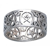 Pentacle Open Sterling Silver Ring