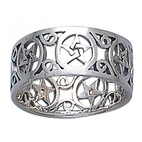 Pentacle Open Sterling Silver Ring at Jewelry Gem Shop,  Sterling Silver Jewerly | Gemstone Jewelry | Unique Jewelry