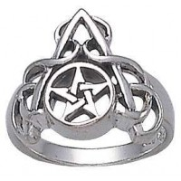 Arched Pentacle Sterling Silver Ring