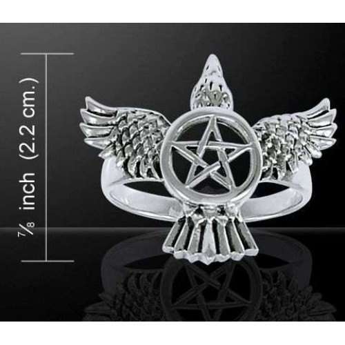 Pentacle Raven Sterling Silver Ring at Jewelry Gem Shop,  Sterling Silver Jewerly | Gemstone Jewelry | Unique Jewelry