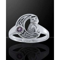 Celtic Cat and Moon Sterling Silver Ring Jewelry Gem Shop  Sterling Silver Jewerly | Gemstone Jewelry | Unique Jewelry