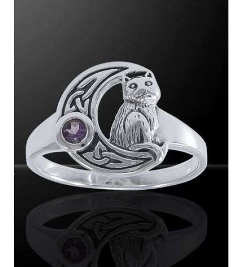 Celtic Cat and Moon Sterling Silver Ring at Jewelry Gem Shop,  Sterling Silver Jewerly | Gemstone Jewelry | Unique Jewelry