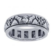 Celtic Claddagh Sterling Silver Fidget Spinner Ring