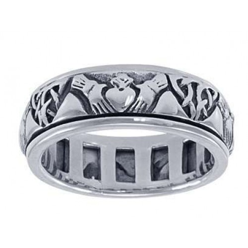 Celtic Claddagh Sterling Silver Fidget Spinner Ring at Jewelry Gem Shop,  Sterling Silver Jewerly | Gemstone Jewelry | Unique Jewelry
