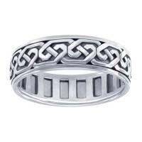 Celtic Knot Solid Sterling Silver Fidget  Spinner Ring