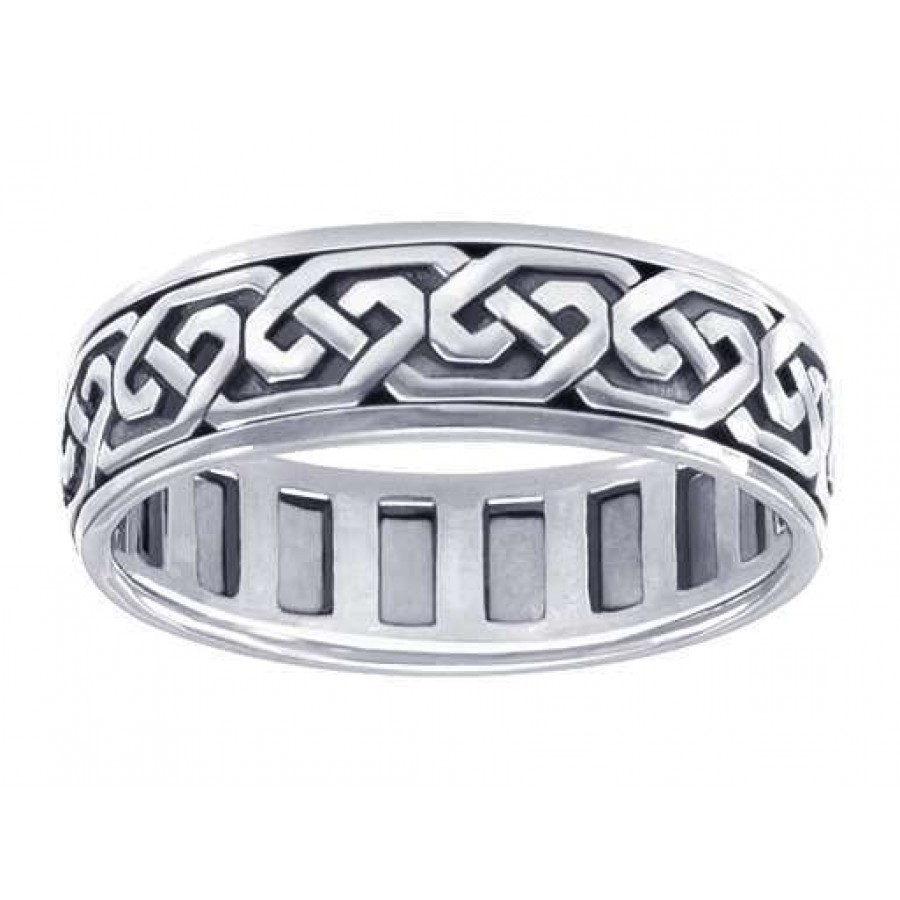 Celtic Knotwork Sterling Silver Spinner Ring by Peter Stone Unique Fine Jewelry