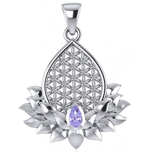 Lotus Flower of Life Amethyst Pendant at Jewelry Gem Shop,  Sterling Silver Jewerly | Gemstone Jewelry | Unique Jewelry