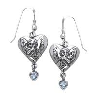 Amy Zerner Cupid Heart Earrings with Blue Topaz