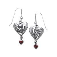 Amy Zerner Cupid Heart Earrings with Ruby