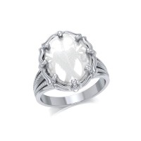 Angel Wings Natural Clear Quartz Ring
