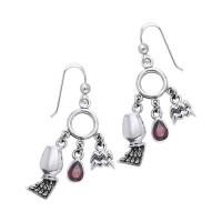 Aquarius Astrology Earrings with Gems