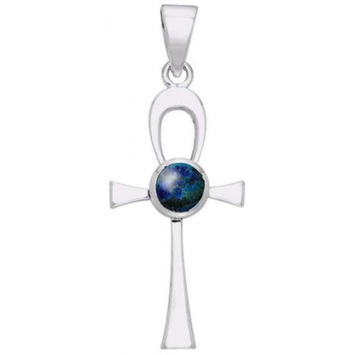 Ankh Egyptian Pendant with Azurite Gem at Jewelry Gem Shop,  Sterling Silver Jewerly | Gemstone Jewelry | Unique Jewelry