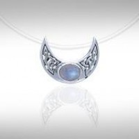 Blue Moon Silver Pendant with Rainbow Moonstone