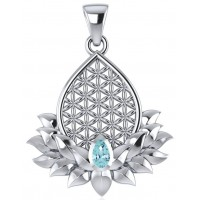 Lotus Flower of Life Blue Topaz Pendant Jewelry Gem Shop  Sterling Silver Jewerly | Gemstone Jewelry | Unique Jewelry