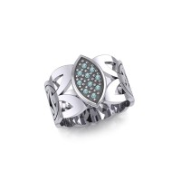Borre Silver Ring with Blue Topaz Gemstones