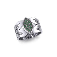 Borre Silver Ring with Emerald Gemstones