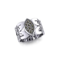 Borre Silver Ring with Marcasite Gemstones