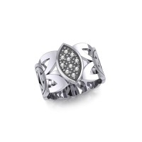 Borre Silver Ring with White Cubic Zirconia Gemstones
