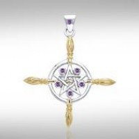 Broomsticks & Star Pendant with Amethyst Gems
