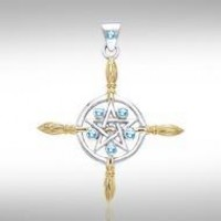 Broomsticks & Star Pendant with Blue Topaz Gems
