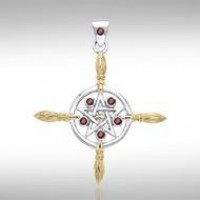 Broomsticks & Star Pendant with Garnet Gems