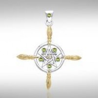 Broomsticks & Star Pendant with Peridot Gems