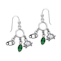 Cancer Astrology Earrings with Gems