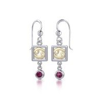 Cancer Zodiac Sign Earrings with Ruby