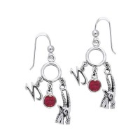 Capricorn Astrology Earrings with Gems