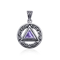 Celtic AA Symbol Silver Pendant with Amethyst Gemstone
