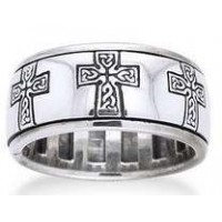 Celtic Cross Sterling Silver Fidget Spinner Ring