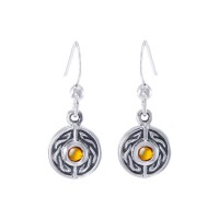 Celtic Knot Round Earrings with Amber