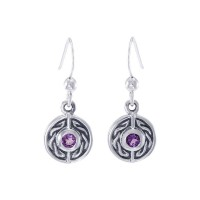 Celtic Knot Round Earrings with Amethyst