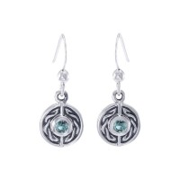 Celtic Knot Round Earrings with Blue Topaz