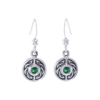Celtic Knot Round Earrings with Emerald