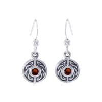 Celtic Knot Round Earrings with Garnet