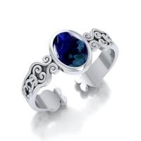 Celtic Knot Spiral Cuff Bracelet with Azurite Gemstone