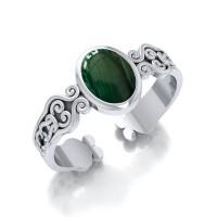 Celtic Knot Spiral Cuff Bracelet with Malachite Gemstone