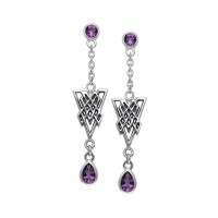 Celtic Knot Triangle Earrings with Amethyst Gemstones