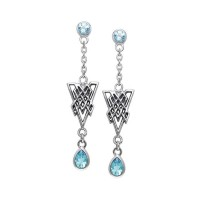 Celtic Knot Triangle Earrings with Blue Topaz Gemstones