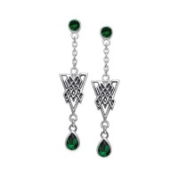 Celtic Knot Triangle Earrings with Emerald Gemstones