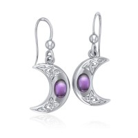 Celtic Knotwork Crescent Moon Hook Earrings with Amethyst