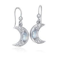 Celtic Knotwork Crescent Moon Hook Earrings with Rainbow Moonstone