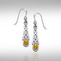 Celtic Knotwork Amber Triquetra Earrings