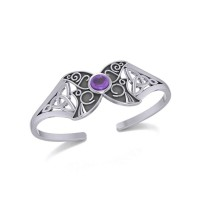 Celtic Moon Goddess Cuff Bracelet with Amethyst