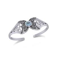 Celtic Moon Goddess Cuff Bracelet with Blue Topaz