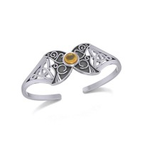 Celtic Moon Goddess Cuff Bracelet with Citrine